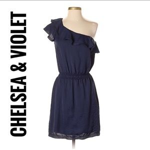 Chelsea & Violet Navy one shoulder dress Sz Sm
